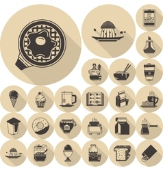 Food brown flat icons collection vector