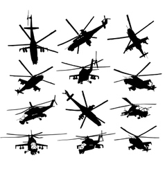 Helicopter silhouettes set vector
