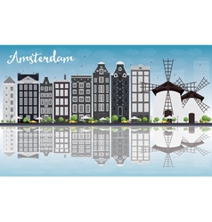 Amsterdam city skyline with grey buildings vector