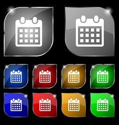 Calendar page icon sign set of ten colorful vector