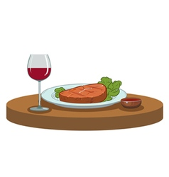 Grilled steak and a glass of wine vector
