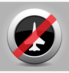 Gray chrome button - no fighter vector