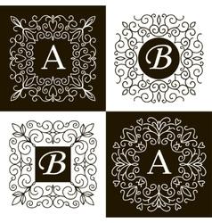 Set of monogram line vintage frames vector image