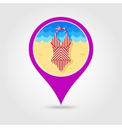 Swimsuit pin map icon summer vacation vector