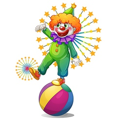 A clown above the inflatable ball vector image
