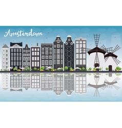 Amsterdam city skyline with grey buildings vector