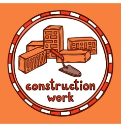 Architect building construction sketch vector