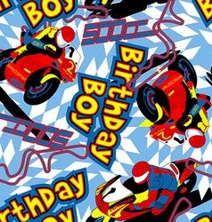 Birthday boy motorbike seamless pattern vector image