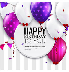 Birthday card with balloons and bunting flags on vector