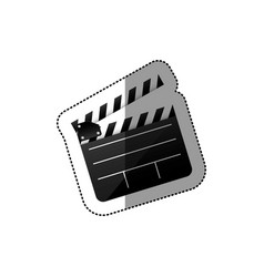 Black silhouette sticker with clapperboard cinema vector