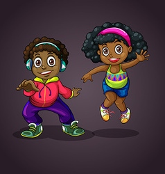 Boy and girl dancing vector