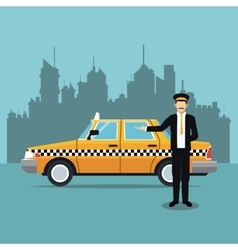 cab car driver uniform service public vector image