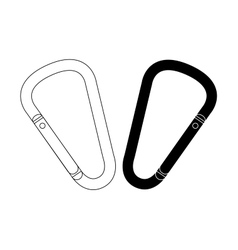 Carabiners set contour and silhouette vector image