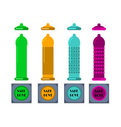 Condoms and packages on white background vector