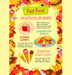 Fast food poster of fastfood snacks vector