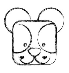Figure square bear face animal vector