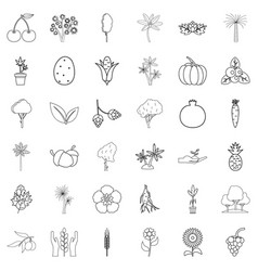 foliage icons set outline style vector image vector image