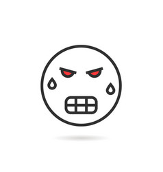 frenzied thin line emoji icon with shadow vector image