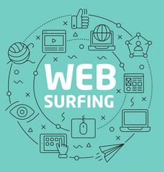 Green line flat circle web surfing vector