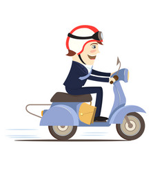 Happy businessman wearing suit riding scooter vector