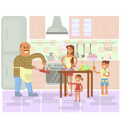 Happy family is cooking vector