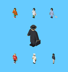 Isometric human set of doctor guy girl and other vector
