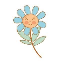 Kawaii flower plant happy cheeks and close eyes vector
