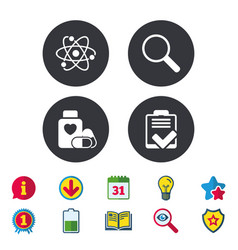 Medical icons atom magnifier glass checklist vector