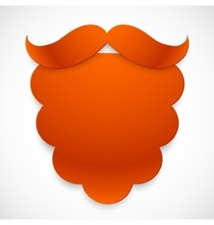 Red cutout paper beard with mustaches vector image vector image