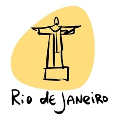 Rio de janeiro brazil statue of christ vector