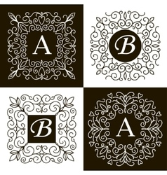 Set of monogram line vintage frames vector image
