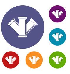 Sewerage icons set vector