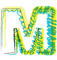 Sketch font Letter M vector image vector image
