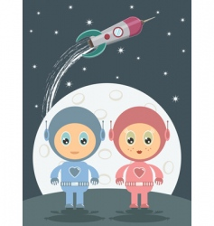 space boy and girl vector image vector image