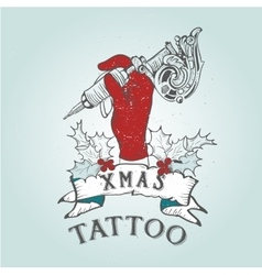 Vintage christmas skull tattoo vector