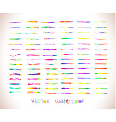 Watercolor rainbow brushes design template vector