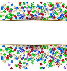 white banner with colorful confetti and colorful vector image vector image