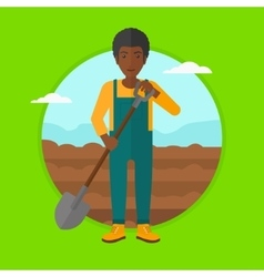 Farmer on the field with shovel vector
