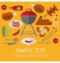 Barbecue grill card design template vector