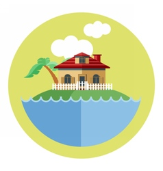 Digital land with water a house vector