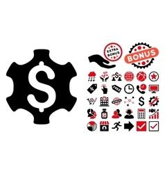 Financial Settings Flat Icon with Bonus vector image