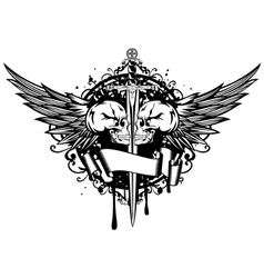 Two skulls wings and sword vector