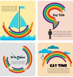 Four gay icons infographics vector