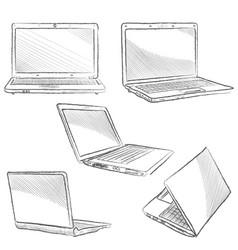 Laptop set computer hand drawn sketch doodle vector