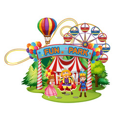 Funpark with people in costumes vector