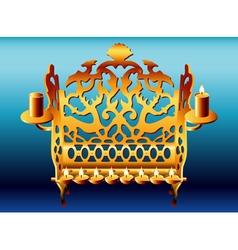18th century poland hanukkah menorah vector