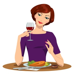 Girl eating salmon steak and drinking red wine vector