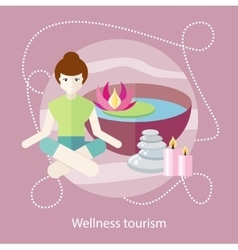 Wellness tourism woman in a beauty and spa salon vector