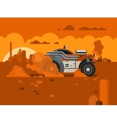 Driving fast retro car through desert vector