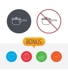 Saucepan icon cooking pot or pan sign vector